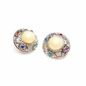 Chunky Multicolored Rhinestone Faux Pearl Earrings